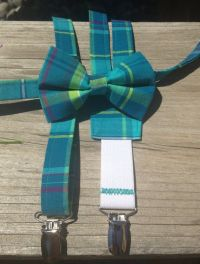 Turquoise, teal, yellow, magenta plaid bow tie and ...
