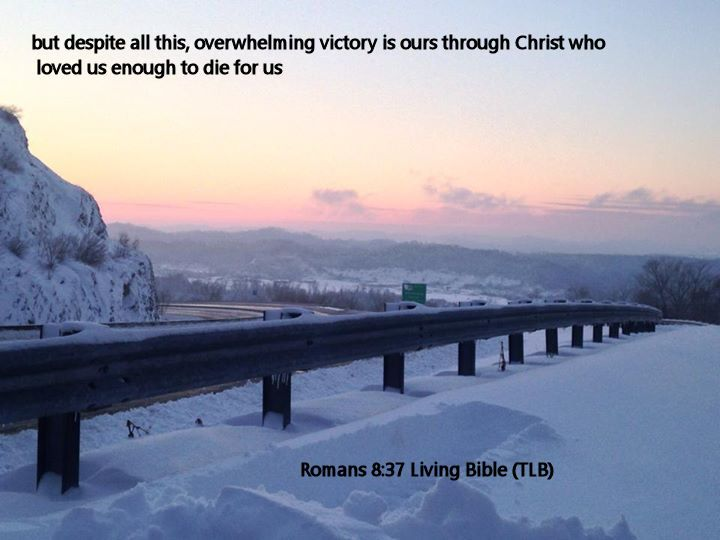 Romans 8.37 Living Bible (TLB)