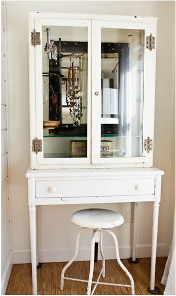 "Cupboard or frame for a jewelry ""cabinet"" (covers it up a bit) Credit:_Whisper Wood Cottage[http://www.whisperwoodcottage.com/2012/02/vintage-medical-cabinet-used-as-jewelry.html]"