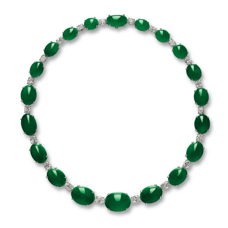 Very Fine Jadeite and Diamond Necklace | Lot | Sotheby's
