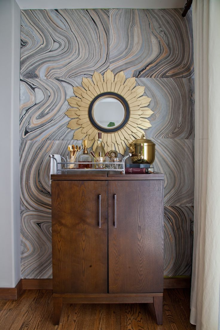 Rosa Beltran Design {Blog}: Swirly Agate Walls.  DIY with marble art papers.  Fabulous!  Hung with 3M Scotch 1-Inch Indoor Mounting Squares.