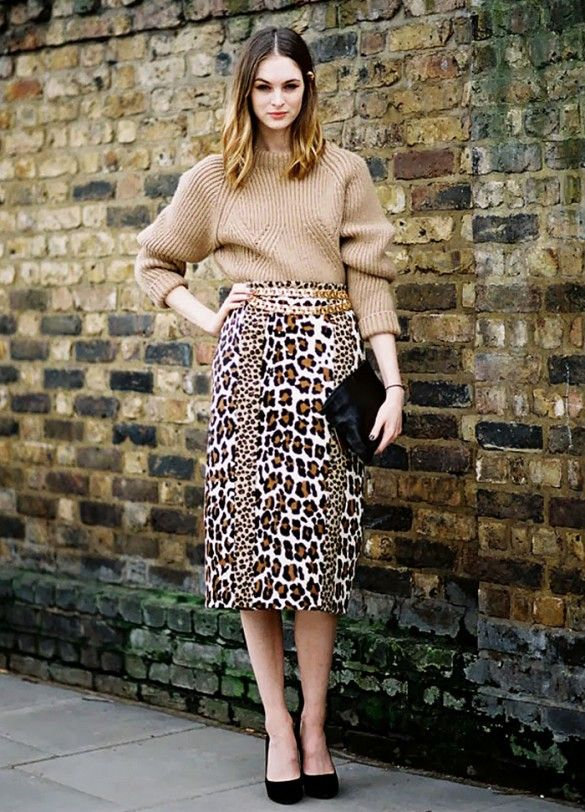 camel sweater with animal print pencil skirt