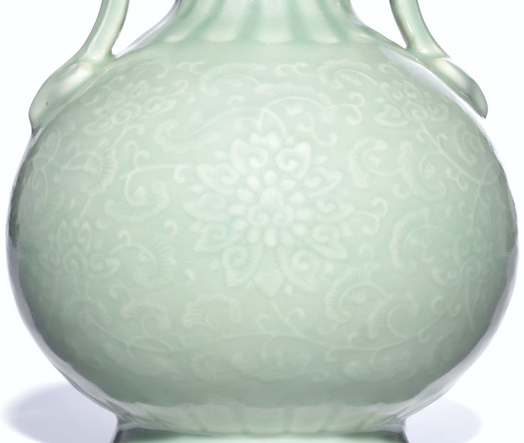 A VERY RARECELADON-GLAZED DOUBLE-GOURD VASE<br>SEAL MARK AND PERIOD OF QIANLONG | Lot | Sotheby's