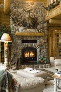 Gorgeous stone fireplace. | Beautiful Fireplaces | Pinterest