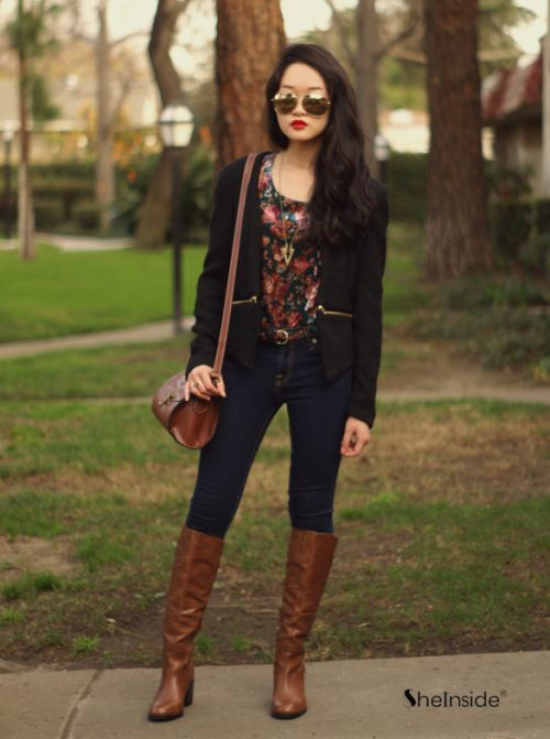 boots, dark skinnies, velvet floral top, black blazer, purse, and sunglasses!