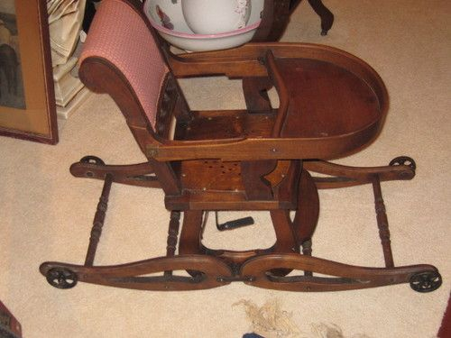 Antique Childs Convertible High Chair to Rocking Chair