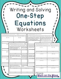Solving One-Step Equations worksheets with word problems