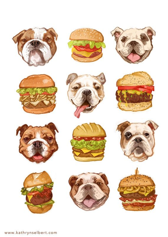 Fine Art Print  Bulldogs and Burgers by kathrynselbert on Etsy