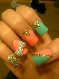Acrylic nails coral blue and gold bow diamonds | Favs ...