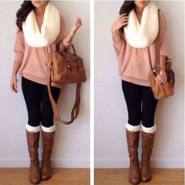 Oversized knit scarf with a oversized sweater and riding boots | mitzitup.com