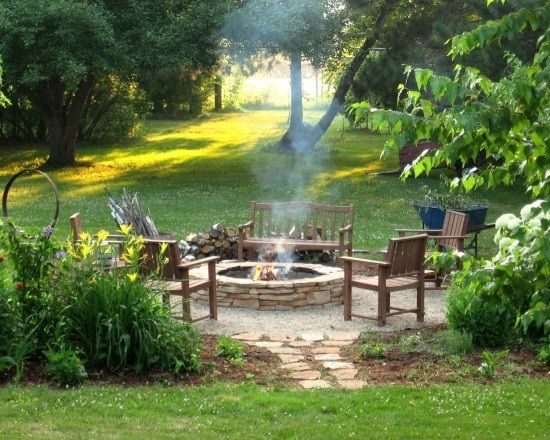 outdoor sitting area with fire pit
