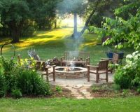 outdoor sitting area with fire pit | If ever a house ...