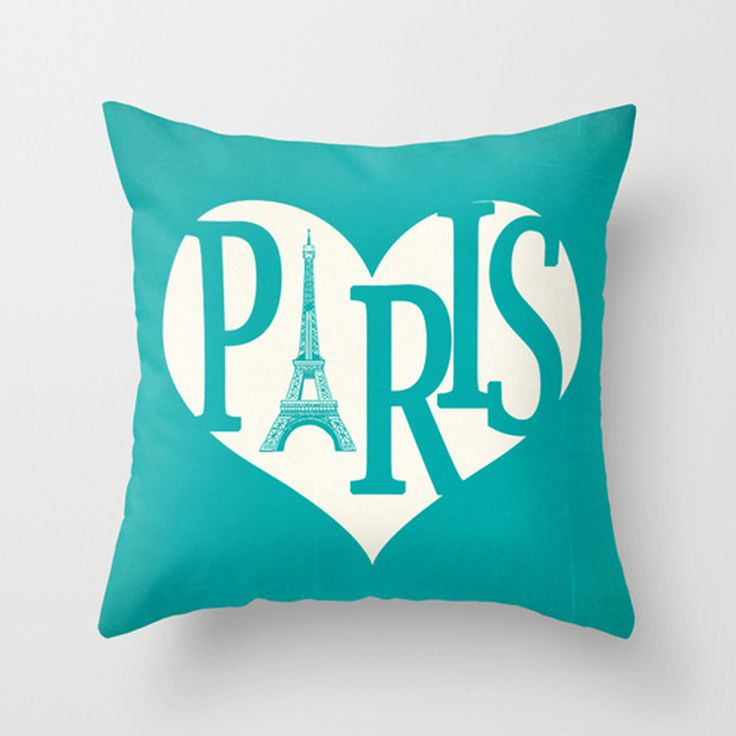 Paris Pillow Cover Turquoise Pillow Eiffel Tower Pillow