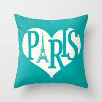 Paris Pillow Cover Turquoise Pillow Eiffel Tower Pillow ...