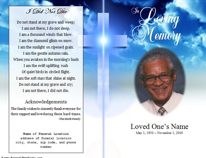 obituary pamphlet template