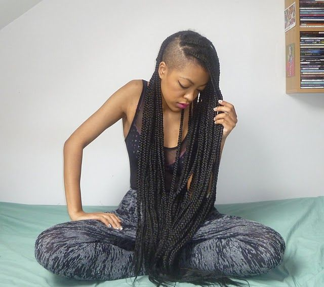 The Part Shaved Box Braids-- I think these box braids are my next protective style! I so want them this long.