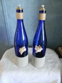 Blue glass wine bottle oil lamp