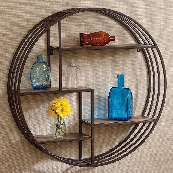 Round Rustic metal/wood shelf