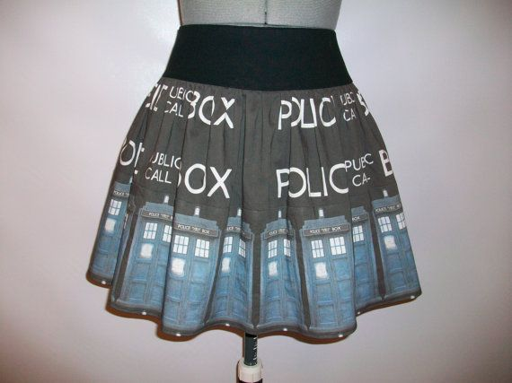 Police Box Skirt by ComplementsByJo on Etsy