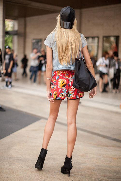 Flower power! We love the floral print on these sporty shorts.