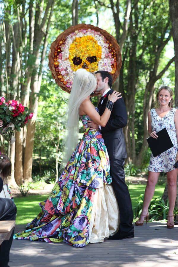 Skulls And Flowers Wedding Dress Day Of The Dead Wedding