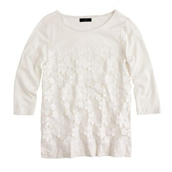 Daisy lace three-quarter sleeve tee jcrew