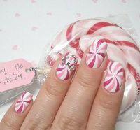 Peppermint candy swirl nail design | Nail art | Pinterest
