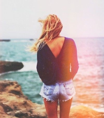 beach style with sexy back sweater and cut offs. I wouldn't do the highwasted shorts tho