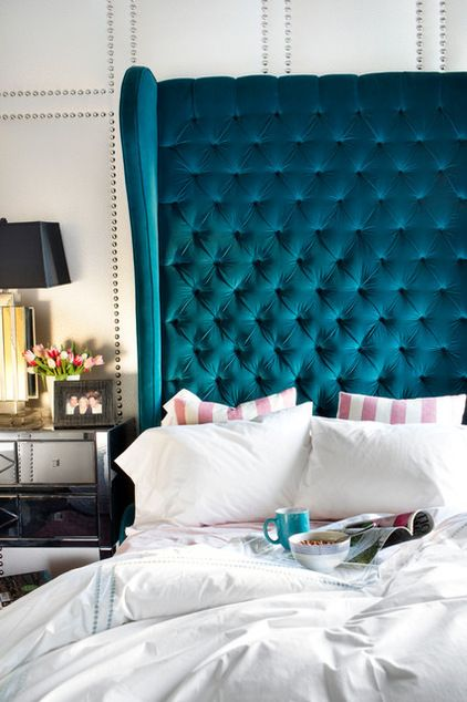 stunning headboard / eclectic bedroom