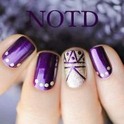 purple and gold design nails tips