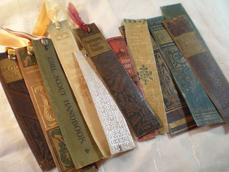Bookmarks out of old book spines.