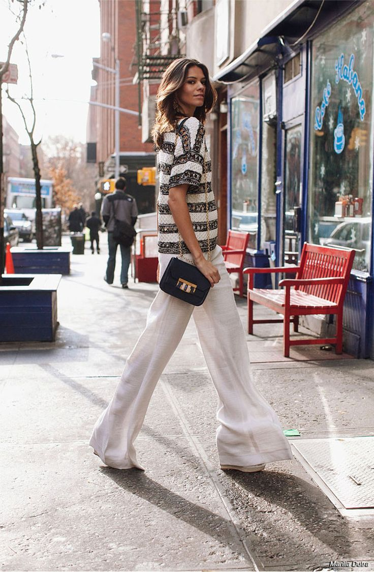Classic chic: black & white stripe top & white wide leg pants #StreetStyle