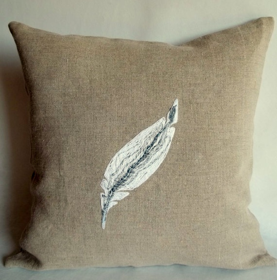 Feather throw pillow Rustic Decorative pillow cover