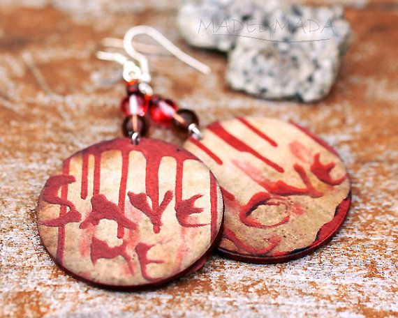 Bloody Halloween Jewelry blood stains Earrings by MADEbyMADA