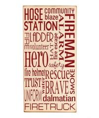 Cream & Red Fireman Subway Wall Art