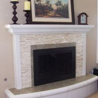 white glass tile fireplace surround | House Things | Pinterest