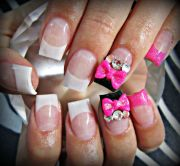 pink 3d bow acrylic nails