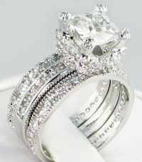 CUSHION CUT 3.43 CT. CZ Eternity Band Bridal Wedding 3 PC ...