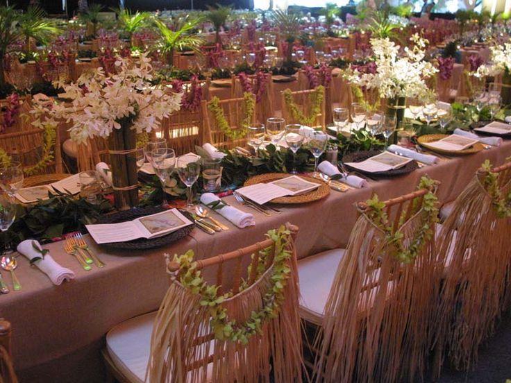 wedding chair covers hawaii restoration hardware marseilles hawaiian themed table scape   luau dinner party pinterest