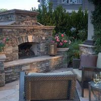 outdoor fireplace. stacked stone. | fireplace | Pinterest