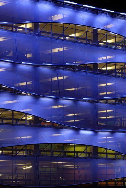 Cardiff Bay Car Park by Light Bureau Architects who chose Serge Ferrari flexible composite membrane for this amazing facade.