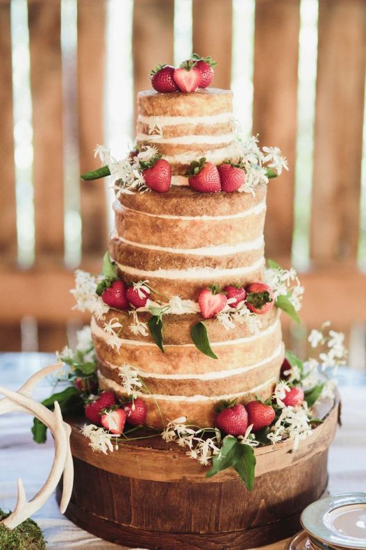 Naked Wedding Cake with Strawberries --