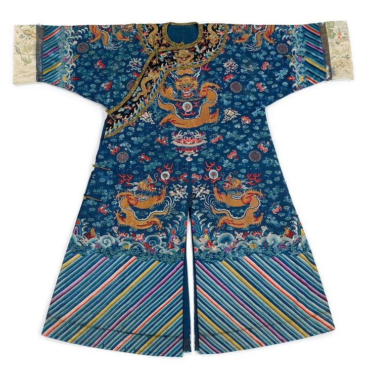 A Chinese embroidered silk dragon robe, jifu, Qing dynasty