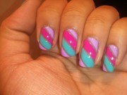 pink teal striping tape nails