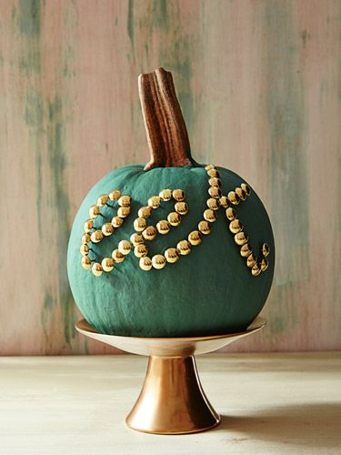 Pumpkin Decorating Ideas - painted pumpkin with thumb tacks to spell a word #fall #autumn #AutumnDecorating