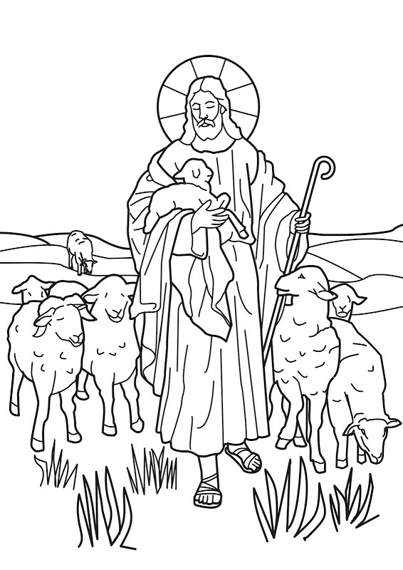 Jesus is the Good Shepherd. Bible coloring page