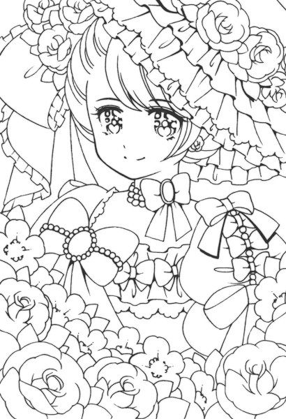 Shoujo Coloring Book Japanese Sketch Coloring Page