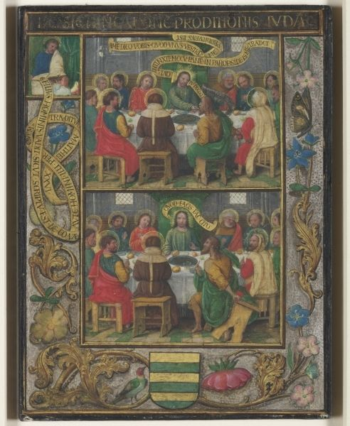 Single Leaf with Scenes from the Last Supper, about 1525–30. Simon Bening (Flemish, 1483–1561). Tempera with liquid gold and silver on vellum; wooden board; 17 x 12.5 cm. The Cleveland Museum of Art, Gift of Bruce Ferrini, Pamela Ferrini, associates, and friends in memory of Matthew Ferrini 2002.52