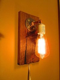 Wall Sconce - Rustic Reclaimed White Oak With Edison Bulb