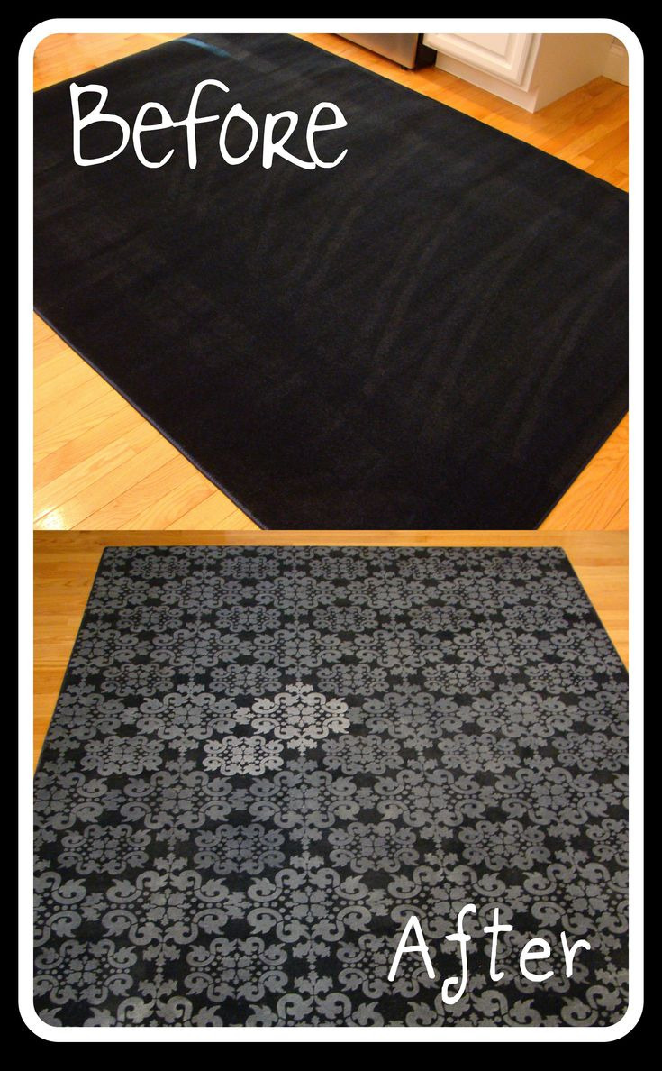 Forget paying $ 50-100+ for a rug! Buy a cheap one and decorate it yourself. This woman used a plain rug from Lowe's (only $ 24.98!), a stencil and white acrylic paint from Hobby Lobby (on sale!), and a foam roller. There are so many different color/design combinations you can use to inexpensively create a unique rug for your room.